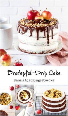 Bratapfel Drip Cake Rezept Kuchen backen Schokolade Ganache in 2020 Drip Cake Recipes, Easy Cake Recipes, Baking Recipes, Cookie Recipes, Snack Recipes, Easy Vanilla Cake Recipe, Chocolate Cake Recipe Easy, Chocolate Recipes, Baking Chocolate
