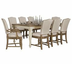 two-tone dining table with upholstered chairs | Coventry Two-Tone Rectangular Table & 4 Upholstered Chairs