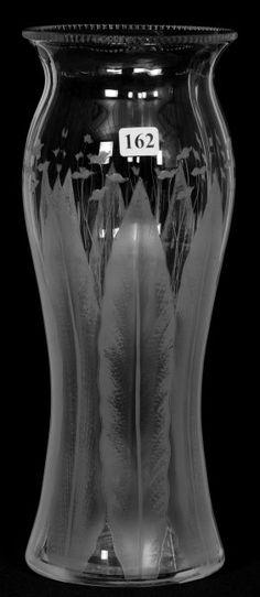 "Dorflinger, Kalana Lily (1907-21), American engraved glass, 13"", 15-3h."