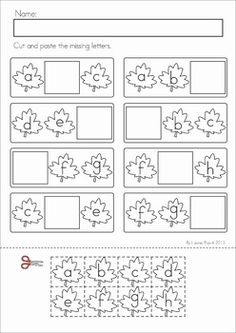 Autumn / Fall Literacy Worksheets and Activities for Kindergarten. 52 pages. A page from the unit: Missing letters cut and paste