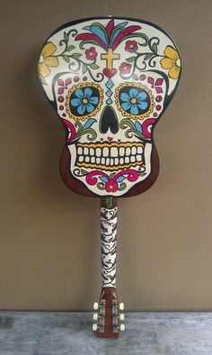 Handpainted sugar skull guitar @   http://www.etsy.com/listing/130879499/unique-original-hand-painted-guitar