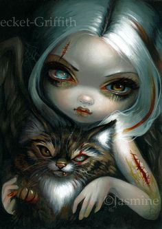 Zombie Kitty Jasmine Becket-Griffith ORIGINAL PAINTING gothic cat fairy art NEW