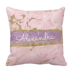 Gold and Pink Marble with Gold Foil and Glitter Throw Pillow - glitter gifts personalize gift ideas unique