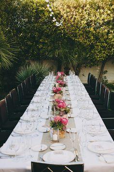 elegant wedding reception, photo by Lauren Scotti http://ruffledblog.com/modern-parker-palm-springs-wedding #weddingreception #receptiontables