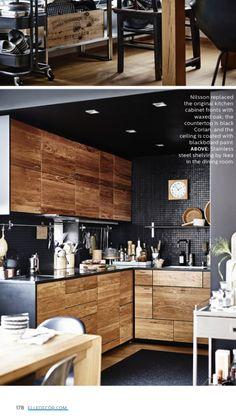 Industrial Kitchen Design, Interior Design Living Room, Real Kitchen, Diy Kitchen, Wood Kitchen Cabinets, Dark Interiors, Black Kitchens, Home Furniture, Home Decor