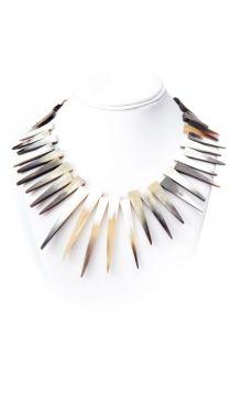 Horn Sunburst Necklace, Tan/White