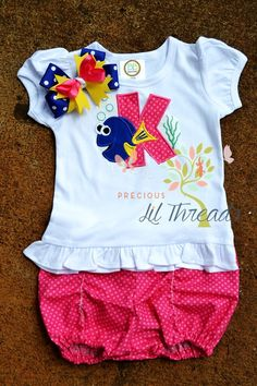 eb0338c1e7 Girls Disney Inspired Finding Dory monogrammed Outfit by PreciousLilThreads  Disney Monogram