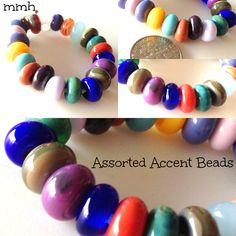 21 Assorted Handmade Lampwork Glass Rondelle Accent Beads by rosebud101 on Etsy
