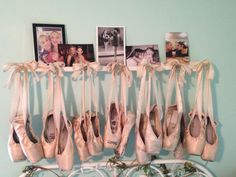 Displaying old pointe shoes.