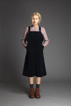 Relaxed dungaree dress style in cotton velvet. Dress has button opening at both side seams at waist and shoulder straps have two buttons for adjustment. Fashion 101, Korean Fashion, Girl Fashion, Autumn Fashion, Fashion Outfits, Womens Fashion, Fashion Design, Grunge Style, Soft Grunge