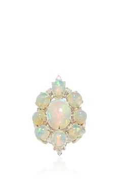 White Opal And Diamond Ring by SUTRA for Preorder on Moda Operandi
