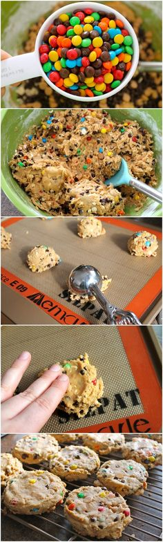 Soft Monster Cookies: I used butterscotch chips instead of peanut butter ones and added more m&m's and chips