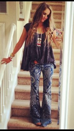 I wasn't into these Discharge Bali Flares on the Free People models, but this chick absolutely rocks them! So rad. Boho babe. For more follow www.pinterest.com/ninayay and stay positively #inspired.