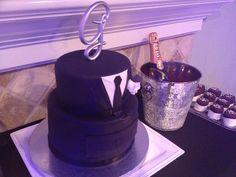 Manly birthday cake. Suit & Tie fondant cake.