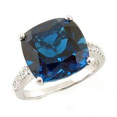 I lurrrve london blue topaz! Cushion Cut London Blue Topaz Ring with Diamonds in White Gold I Love Jewelry, Modern Jewelry, Fine Jewelry, Jewellery, London Blue Topaz, Blue Topaz Ring, Gemstone Jewelry, Cushion Cut, White Gold