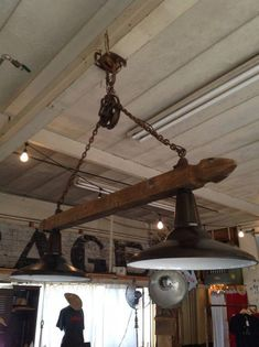 Pulley Light by crowsnestinc on Etsy. Would look cool with old wine barrel stave. Farmhouse Lighting, Rustic Lighting, Industrial Lighting, Kitchen Lighting, Lighting Ideas, Pulley Light, Light Project, Industrial Furniture, Barn Wood