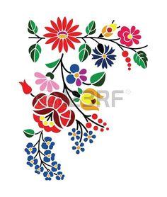 Piękny kwiatowy wzór węgierski Kalocsai Zdjęcie Seryjne