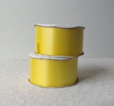 Daffodil Yellow Florist Ribbon, 2 3/4 inch x 100 Yds, 2 Spools Total 200 Yds, Neptune Size 40, Stiff Satin Ribbon, Craft Supply Destash by AlteredEco2 on Etsy