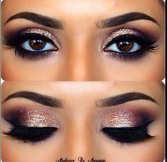 Glitter eyes - lovely makeup, but I hate fake lashes. In general.