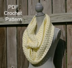 PDF Infinity Scarf Crochet Pattern Instant by CandacesCloset, $5.00
