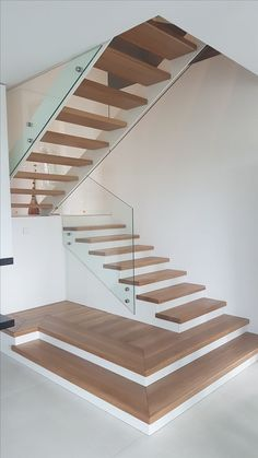 Useful Information About Staircase And Their Details - Engineering Discoveries Glass Stairs Design, Staircase Design Modern, Staircase Railing Design, House Staircase, Home Stairs Design, Modern Villa Design, Modern Stairs, Interior Stairs, Home Room Design