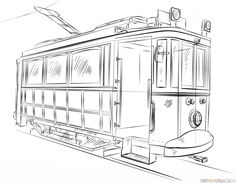 How to draw a trolley car step by step. Drawing tutorials for kids and beginners.