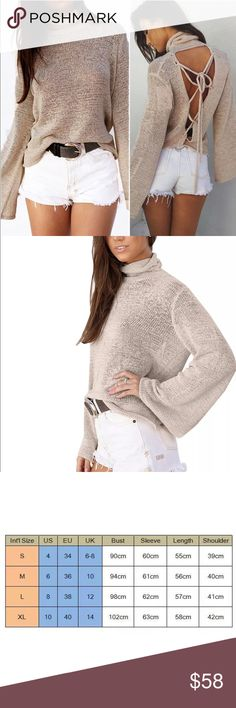 ✨Arriving Soon!✨{Tie Me Up} Sexy Boho Sweater ✨Arriving Soon!✨{Tie Me Up} Sexy Boho Sweater✨Sizes: Small, Medium & Large✨ ✨Beautiful Boho sweater in Stone (Beige)✨ ✨Boho bell sleeves✨Sexy lace tie back✨Purchase now for 20% off✨ Sweaters Cowl & Turtlenecks