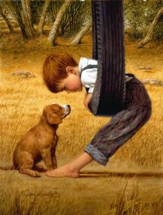 Eye to Eye by Jim Daly (This has a Norman Rockwell look to it.) Reminds me of my boys.
