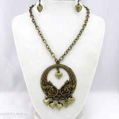 Antique Gold Tone Chain Necklace Choker Circle Pendant Heart Charms Earrings SuzePlace.com