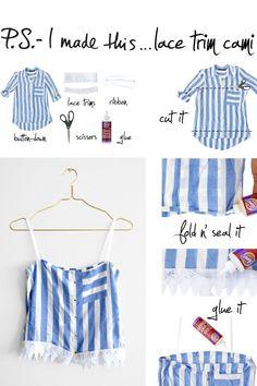 DIY Upcycled No Sew Lace Trim Cami #diyshirts