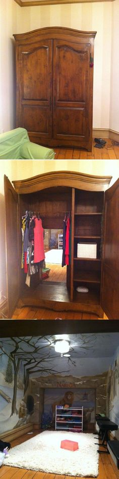 A secret door in this wardrobe leads to a Narnia-esque playroom. (From It has Narnia in it. Narnia is always good. My New Room, My Room, Room Set, Parenting Done Right, Parenting Win, Parenting Hacks, Deco Design, My Dream Home, Dream Kids