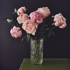 Simple arrangement of pink peonies