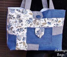 Borsa+in+tessuto+fiorato+e+tinta+unita+di+Alkimya+Bags&Jewelry+su+DaWanda.com