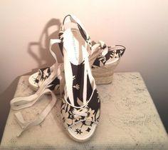 Montego Bay Club brown/cream canvas wedge weaved sandal size 10  #MontegoBayClub #PlatformsWedges