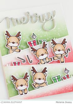 I'm back with a card for Mama Elephant. I'm so in LOVE with Reindeer Games set. This set so fun, cute and you can make anything you. Homemade Christmas Cards, Christmas Cards To Make, Noel Christmas, Xmas Cards, Homemade Cards, Holiday Cards, Christmas Tables, Nordic Christmas, Modern Christmas
