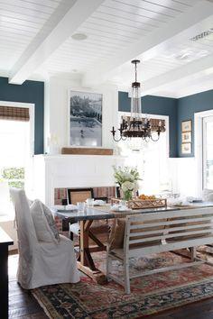Dining room at Newport Beach house. Paint color Dunn Edwards DE5804 Nightfall.  Photography: Esther Sun - www.esthersunphoto.com  Read More: http://www.stylemepretty.com/living/2014/04/29/newport-beach-home-tour/