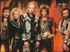 Judas Priest Rob Halford Glenn Tipton K.K. Downing Ian Hill 1986 pin-up photo