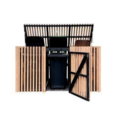 Bin Store, Porch Area, Garbage Can, Pergola Designs, Storage Bins, Wall Spaces, Seat Covers, Dining Room Table, Curb Appeal
