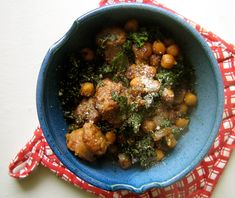 Fried Chickpeas with Kale & Sausage