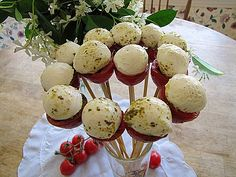 Party Food- love this recipe 1 bunch of  Cherry Tomatoes    1 container of Buffalo Mozzarella Balls    2 tbsp of  Classico Pesto or homemade pesto    1 package of Kabob Skewers