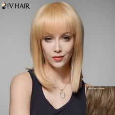 SHARE & Get it FREE   Siv Hair Medium Full Bang Straight Stunning Human Hair WigFor Fashion Lovers only:80,000+ Items • FREE SHIPPING Join Twinkledeals: Get YOUR $50 NOW!
