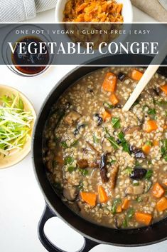Vegetable Congee - a simple vegan congee recipe that is full of nutrition. A comfort food for breakfast and brunch. Perfect for the whole family. Recipe from www.theworktop.com. #congee #veganbreakfast #asianfood