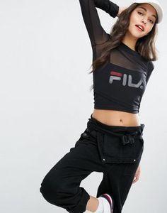 Fila - Top court double épaisseur en tulle avec logo imprimé