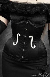 "Black satin underbust ""VIOLIN"" longline corset"