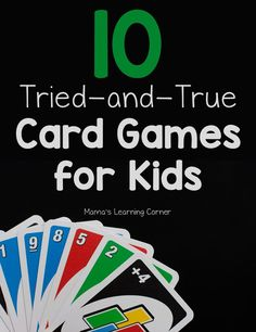 10 Fun Card Games for Kids 10 fun card games for kids that my children and I LOVE! We use many of these in our homeschool. Family Card Games, Fun Card Games, Card Games For Kids, Kids Cards, Fun Games, Games To Play, List Of Card Games, Crazy Games, Dice Games