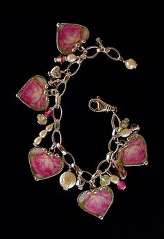 Broken China Jewelry Heart Charm Bracelet sterling with Pearls and crystals pink  cabbage roses