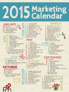 https://social-media-strategy-template.blogspot.com/ 2015 Marketing Calendar printable PDF download containing major holidays, fun dates, and observances for campaign planning.