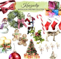 Watercolor Christmas   Set  Commercial and Personal by kaazuclip