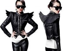 WOMENS Zipper Wing Biker Synthetic Leather motorcycle bicycle Coat Jacket  #OTHER #BasicJacket