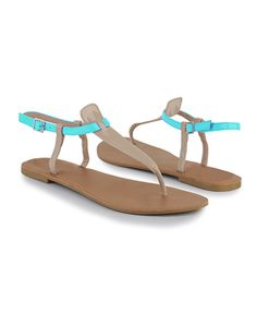 nude sandals with a pop of color, under $8.00. <3.